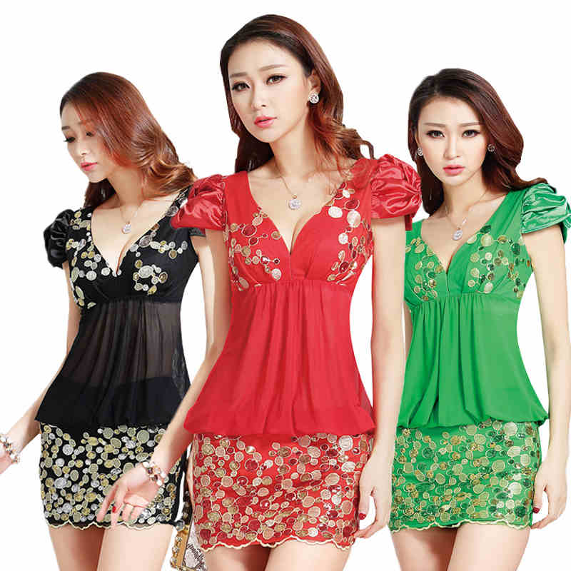 European style sequin dresses for Women, beautiful shinning club lady dress, Russian apparel Black/Green/Red(China (Mainland))