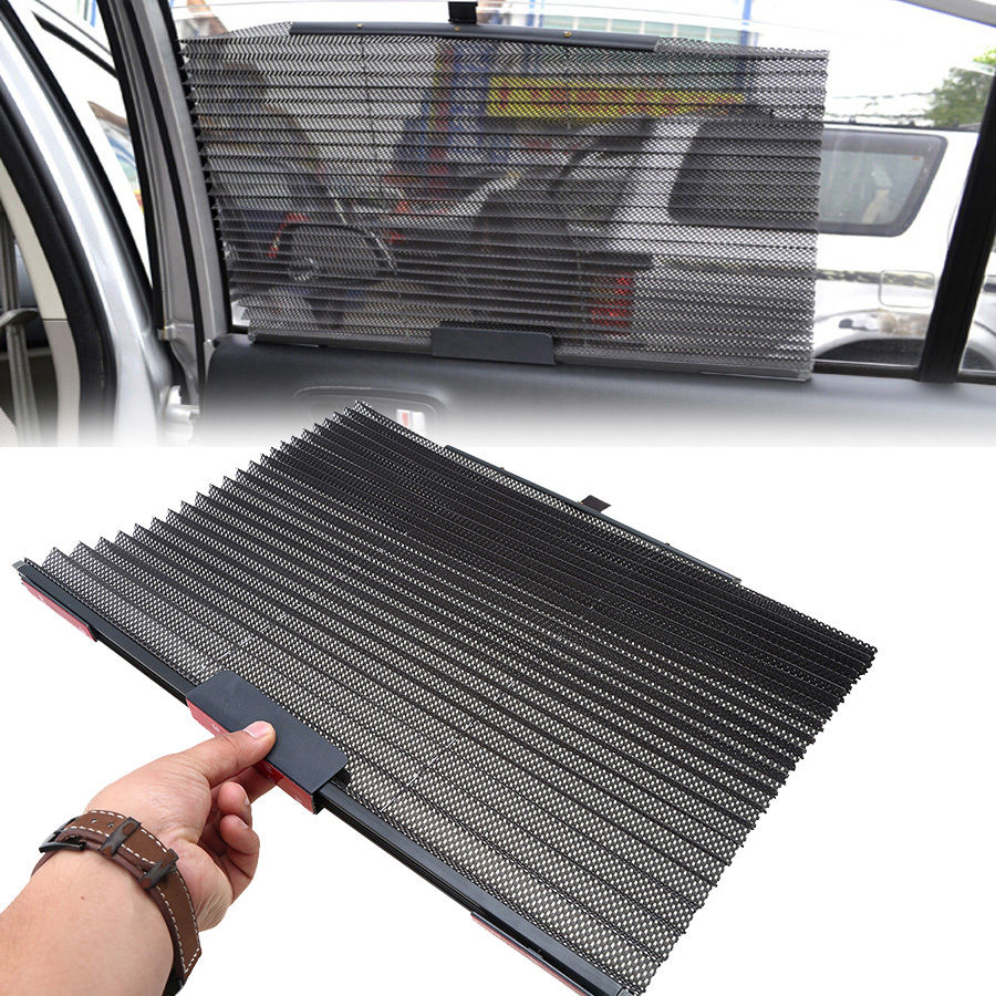 Retractable Universal Auto Car Retractable Curtain Side Window Sun Shade Windshield Sunshade Shield Visor Black Mesh Curtains(China (Mainland))