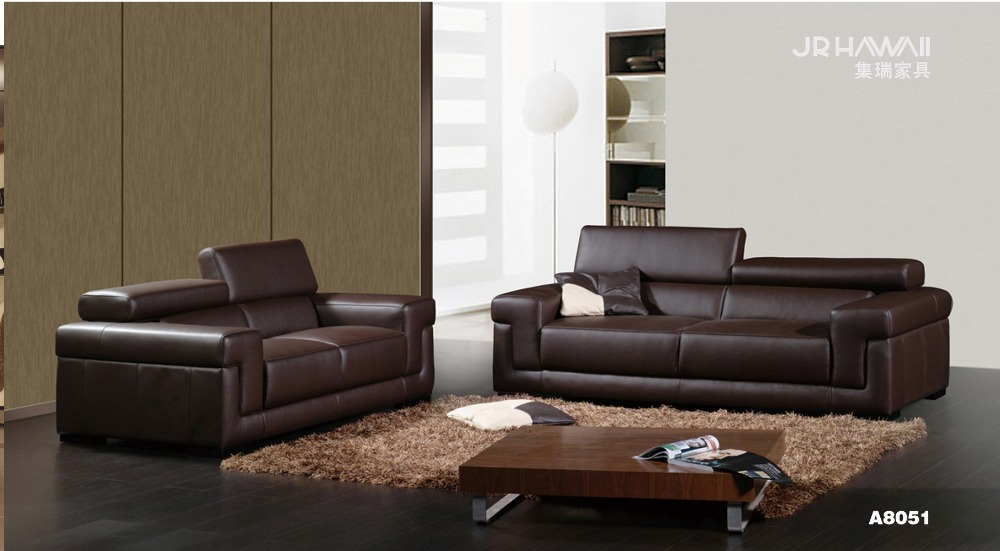 Cow genuine real leather sofa set living room sofa for Used leather sofa set