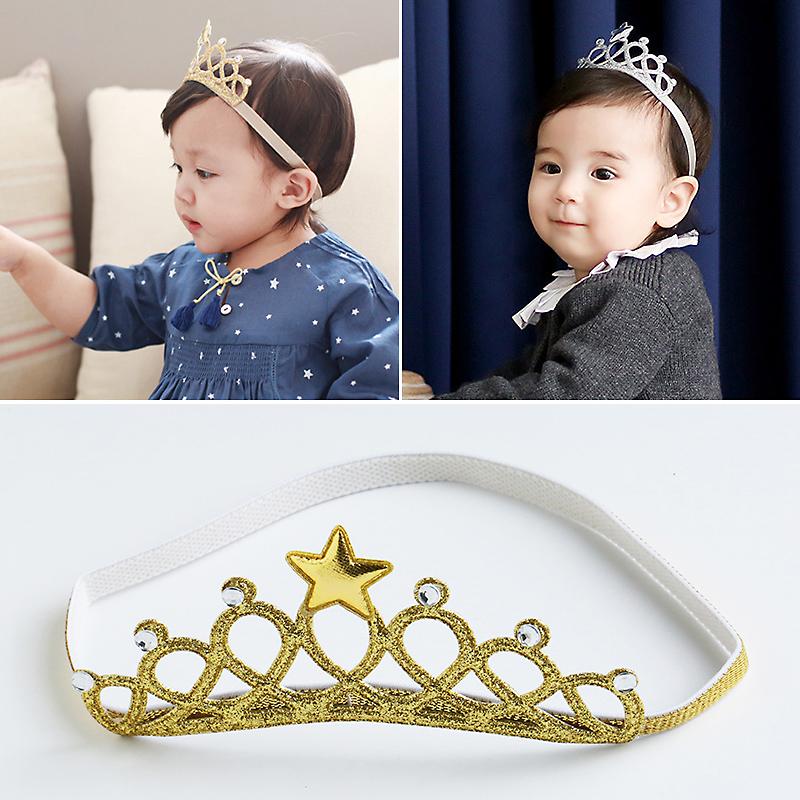 2016 Children 2 color Hair Accessories Princess Tiara scrunchy Headband Baby Crown Headwear Star Crown Toddler Elastic Headband(China (Mainland))