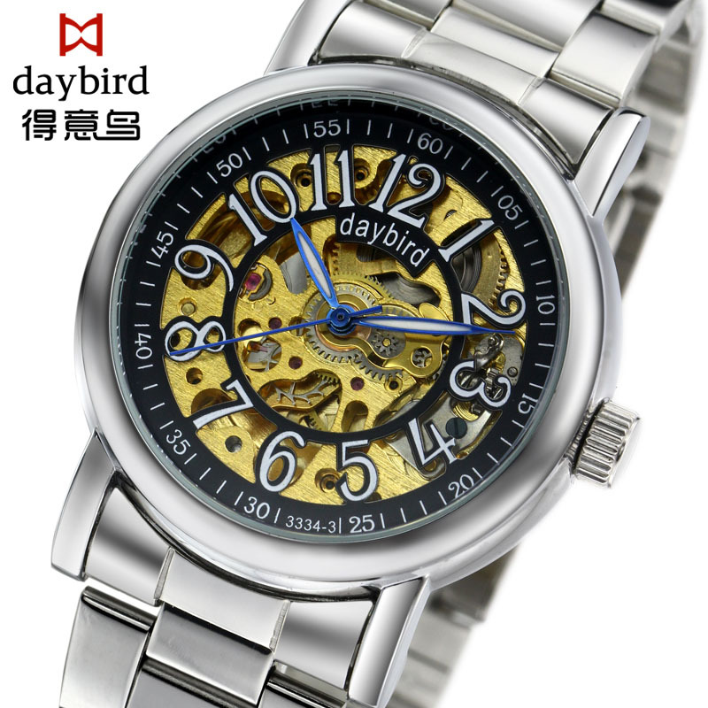 2016 DAYBIRD Ruby Movement Mechanical Watches 904L Stainless Steel Watchband Business Men Casual Watch Relogio Masculino(China (Mainland))