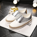 2015 Spring Fall Women Shoes Flat Shoes Genuine Leather Silver White Loafers Shoes a Pedal Lazy