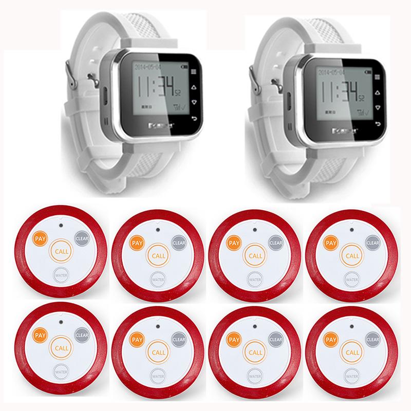 2pcs Hot Sale White Waiter Service Calling System Watch Pager Service System (KR-C166) + 8pcs F64 Wireless Transmitter<br><br>Aliexpress