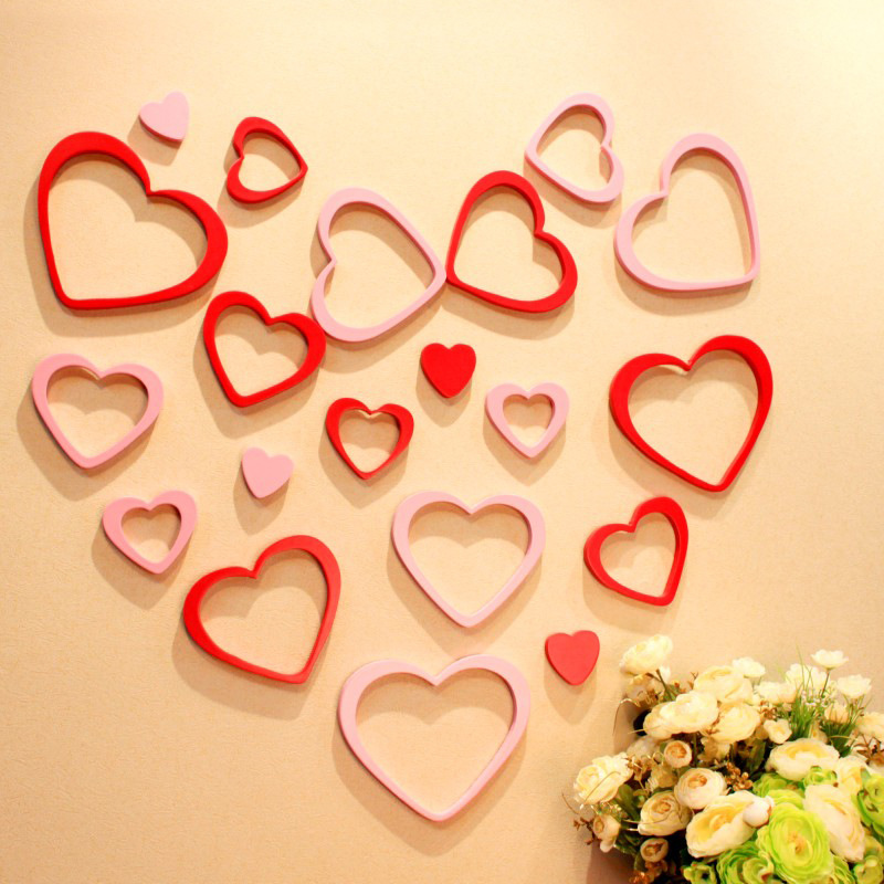 5pcs Wall Stickers Home Decor Wood Craft Heart Shape 3d Wooden Wall Sticker For Kids Rooms DIY Wedding Party Supplies X38(China (Mainland))