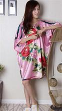 Vintage Blue Chinese Women Silk Rayon Robe Sexy Sleepwear Kimono Bath Gown Loose Lounge Nightdress One Size  S014-K(China (Mainland))
