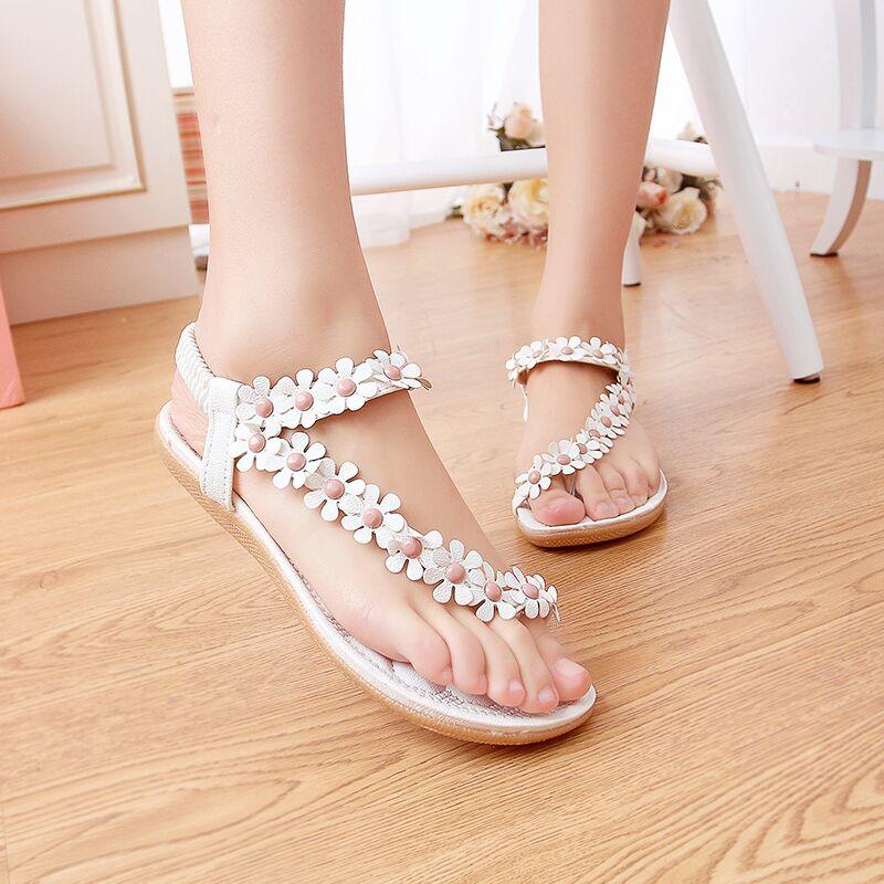 Women shoes flat sandals comfort sandals women Summer Classic beading 2015 fashion Summer high quality flower sandals<br><br>Aliexpress