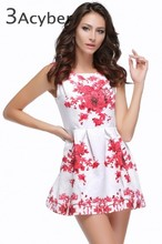2015 Spring/Summer New Vintage Style Elegant Brand Women's Fashion White Sleeveless Porcelain Print Flare Floral Party Dress 10(China (Mainland))