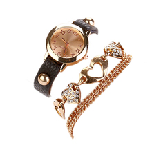 Cheap EA14 Women Faux Leather Rhinestone Heart Shaped Bangle Bracelet Dial Wrist Watch