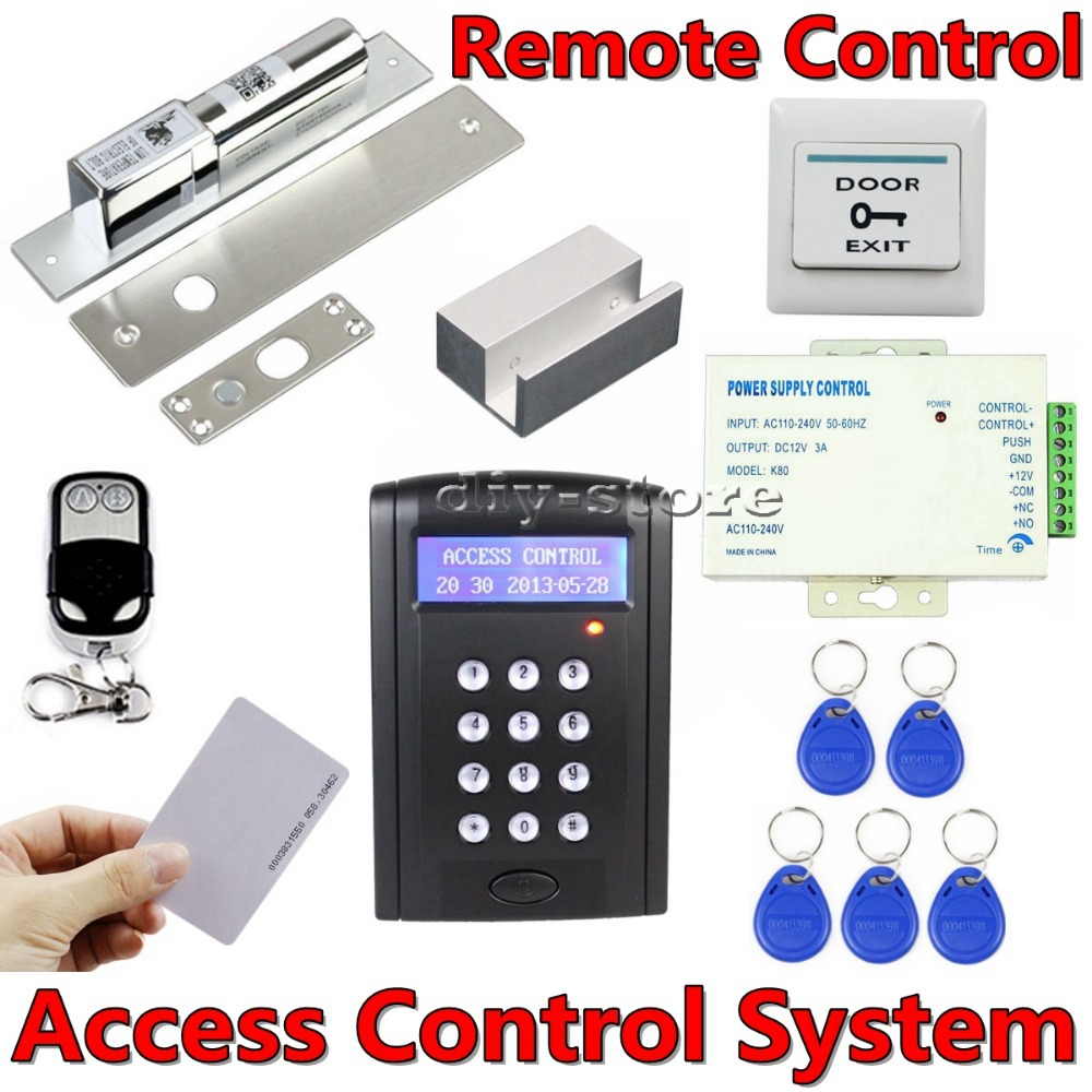 DIY Remote Control 125KHz RFID Keypad Door Access Control Security System Kit + Electric Bolt Lock + Exit Button  B100<br><br>Aliexpress