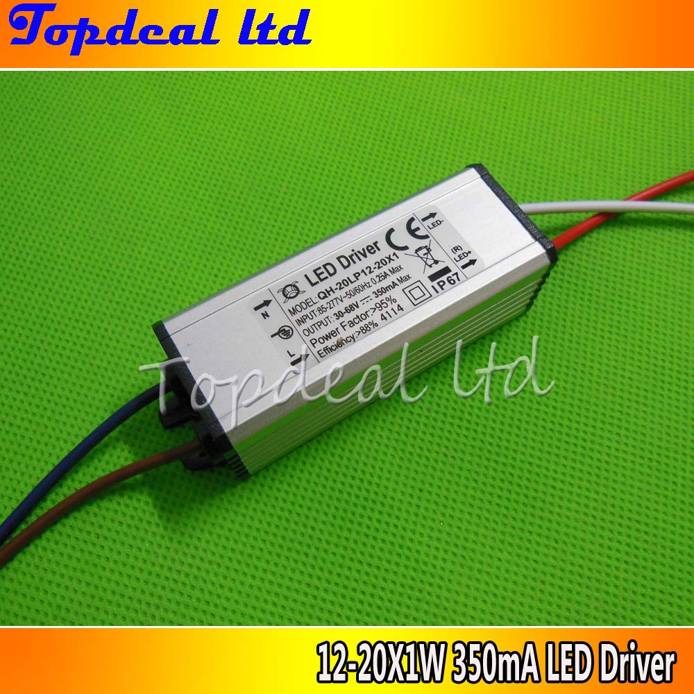 1pcs Waterproof Power Supply AC 110 220V LED Driver 12-20x1W 20W 350mA for 12-20pcs 3w High power led chip light(China (Mainland))
