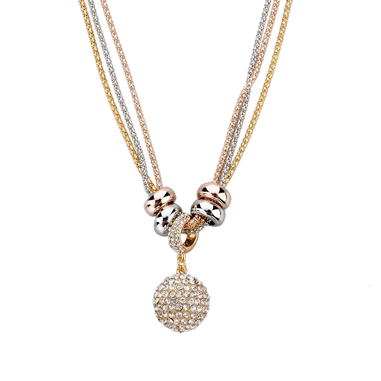 2014 New Design Necklace & Pendant Gold Silver Chain Long Necklace Full Rhinestone Ball Pendant Necklace For Women SNE140166