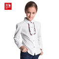 spring autumn long sleeve shirt white girls blouses plaid kids shirt princess shirt solid casual children clothing 2016