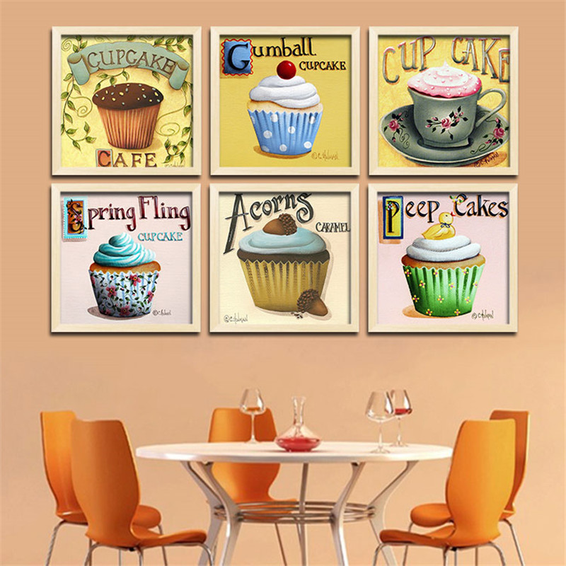 The cafe sweet cupcake shop adornment personality oil painting ice cream cup cakes poster wall sticker canvas painting HD1924(China (Mainland))