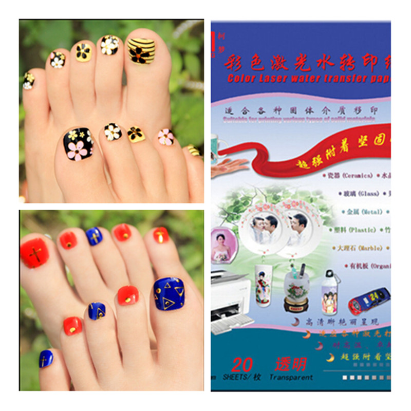(40pieces/lot) Water Slide Decal Transfer Paper Laser For toenails transparent color no need Spray coating oil Waterslider Paper(China (Mainland))