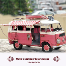 Old fashion Handmade Classic car Vintage Touring car model Cold-rolled Metal motor home Action Figure toys pink house car gift
