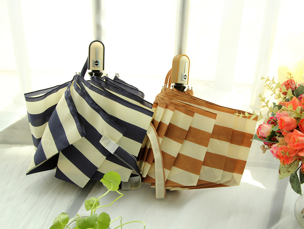 High Quality Navy Stripes 3 folded Umbrella Folding Children Umbrella Umbrellas Rain Women Beach UV protection #F270(China (Mainland))