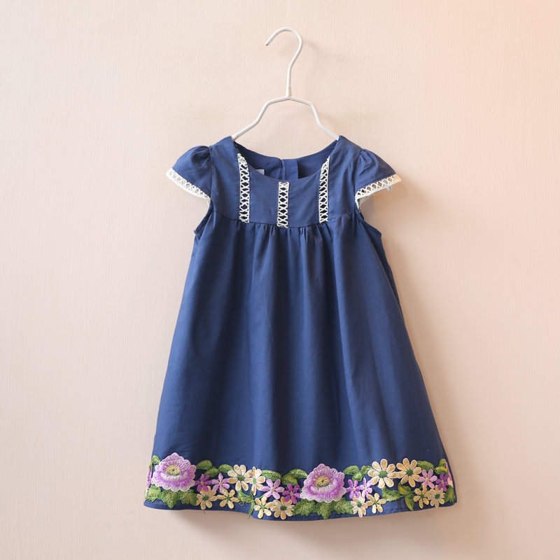 Summer 2017 Fashion Girls Dresses Children Kids Dress Flower Embroidered Cotton Dress for Kids Girls Clothes(China (Mainland))