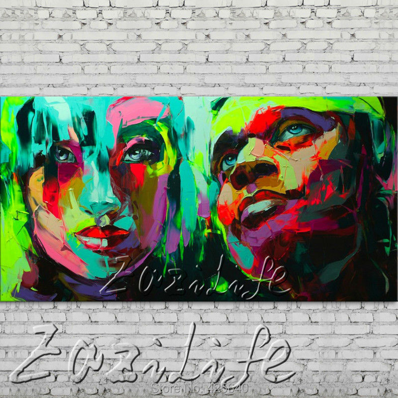 Buy Palette knife portrait Face Oil painting Character figure canva Hand painted Francoise Nielly wall Art picture for living room82 cheap
