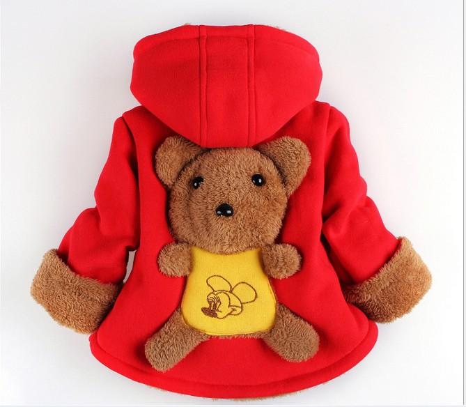 Korean Winter Baby Coat Cartoon Bear Children Boy Girl Cotton Coats Hoodies Outwear Thikcen Wool Red Yellow Kids Clothes WD468(China (Mainland))