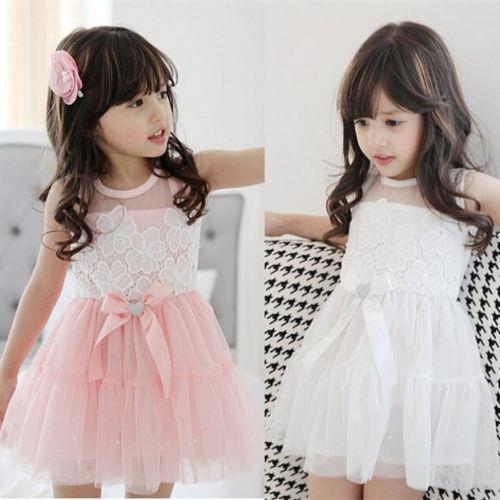 Kids Toddlers Girls Princess Party Lace Dress Girls Tutu dress White/Pink 2-7Y<br><br>Aliexpress