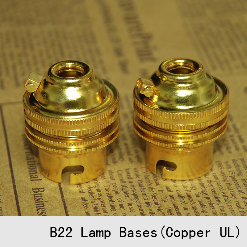 Lamp Bases B22 UL Copper Golden Self-locking Whole Tooth Retro Bulb Socket Pendant Lamp Holders 3PCS/Lot free shipping(China (Mainland))