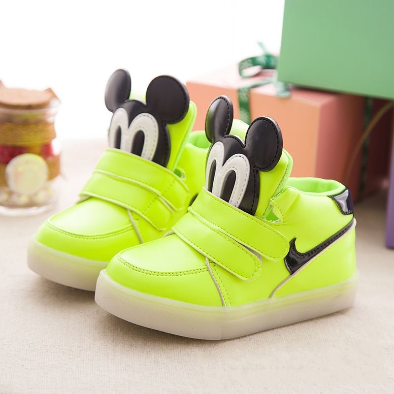 new 2016 fashion flower girl shoes high quality Soft bottom cartoon animal meisjes schoenen prinses with LED light(China (Mainland))
