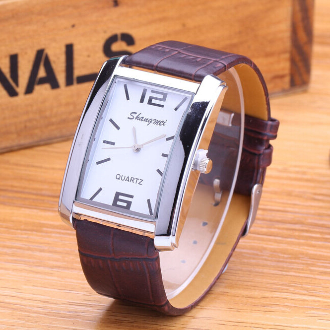 Гаджет  New Fashion Women Dress Watch Wristwatch 2015 Top Brand Rectangle Dial Leather Quartz Watch Men Women For Business Clock Gift  None Часы