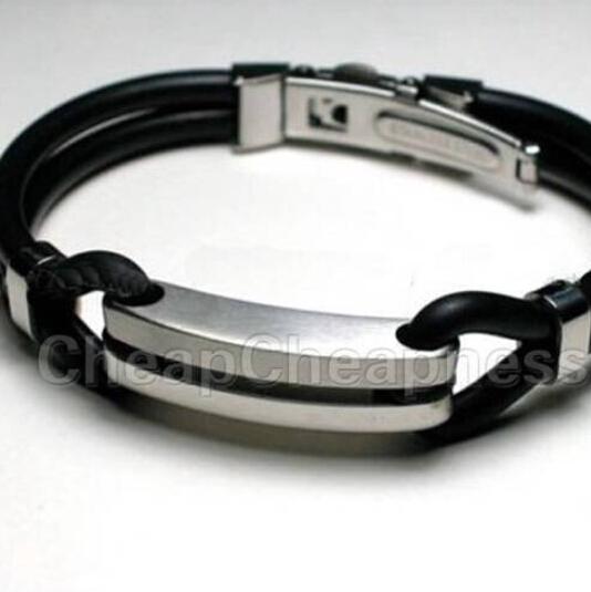 New Brand Stainless Steel Rubber Bracelets Men Casual Black Bracelets Men Designer Men Fashion Jewelry