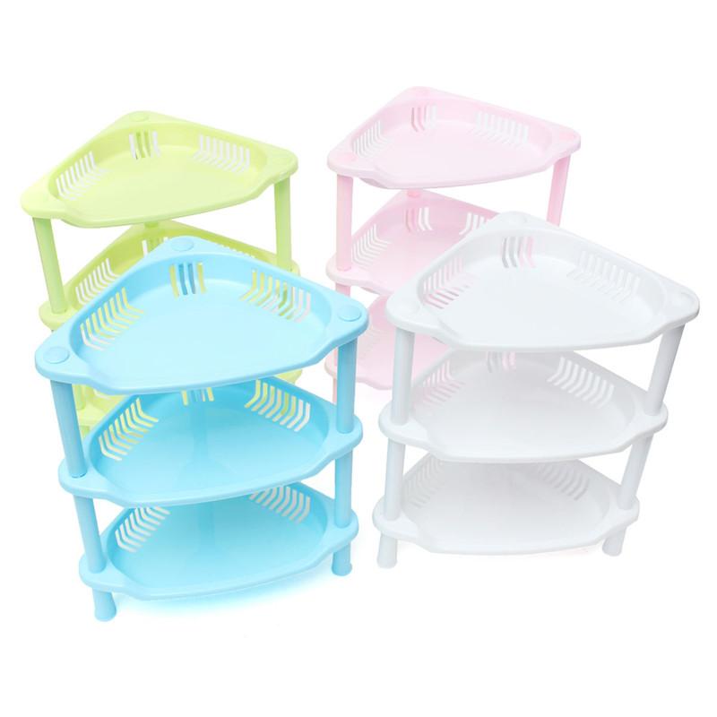 The Best Price 3 Tier Plastic Corner Shelf Unit Organizer Cabinet Bathroom Playroom Garage Kitchen Storage Rack(China (Mainland))