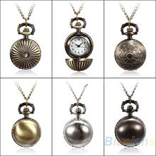 Min. 16 5 Colors Antique Retro Vintage Ball Metal Steampunk Quartz Necklace Pendant Chain Small Pocket Watch For Gift 02CU