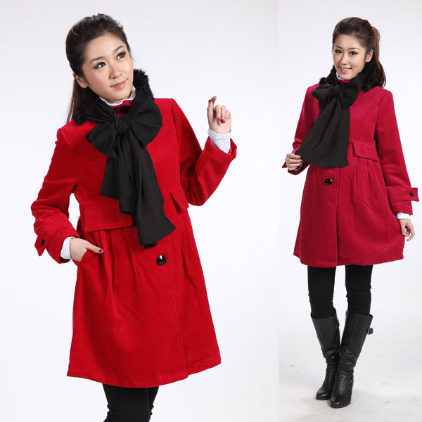 2014 Autumn And Winter Maternity Clothes Elegant Wool Coat With Rabbit Fur Scarf Muffler Thick Woolen Jacket Maternity Outerwear<br><br>Aliexpress