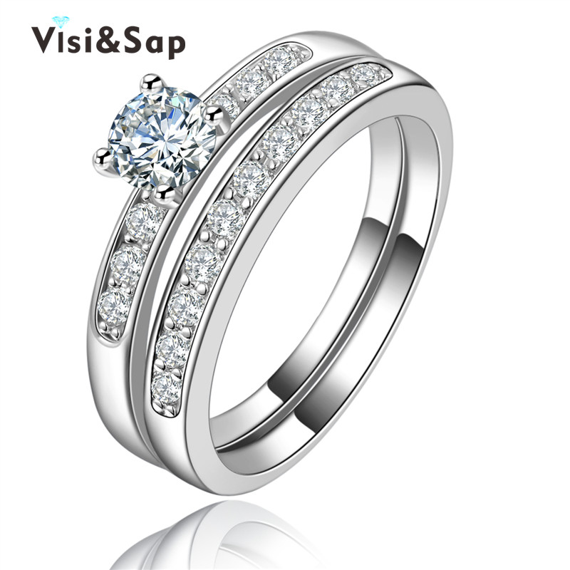 Bridal sets jewelry White Gold Plated rings for women Wholesale vintage jewelry trendy wedding ring fashion jewellery VSR124(China (Mainland))