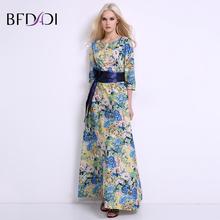 Bfdadi новых женщин длинные летние dress ретро цветочный принт старинные dress 3/4 рукавом женская партия maxi dress with belt bf019(China (Mainland))
