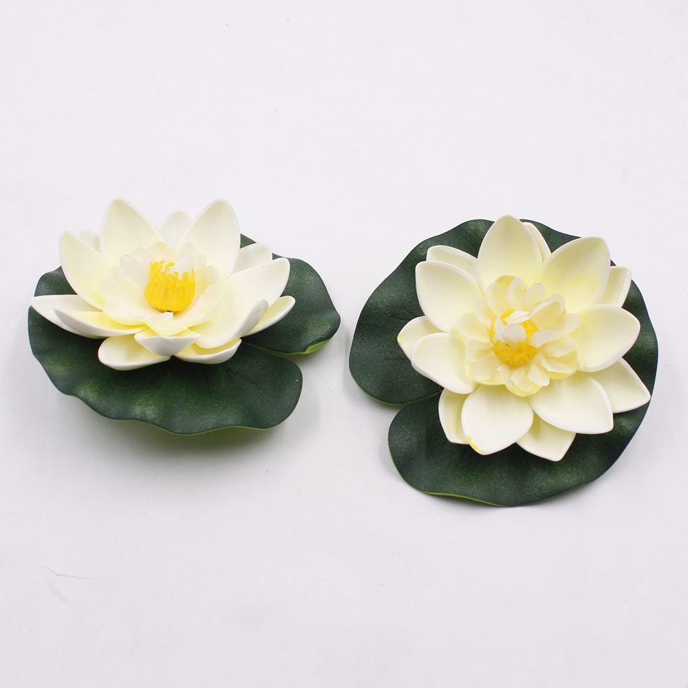 1PCS/lot 10CM Real Touch Artificial Lotus Flower Foam Lotus Flowers Water Lily Floating Pool Plants Wedding Garden Decoration
