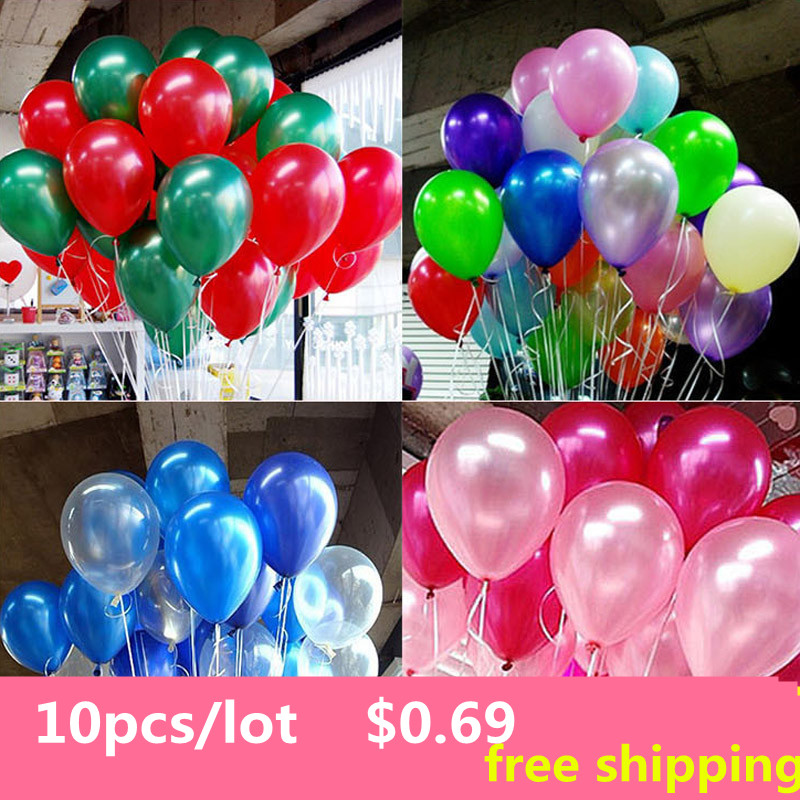 10pcs/lot 10 inch1.2g Latex balloon Helium Round balloons 15colors Thick Pearl balloons Wedding Party Birthday Balloons<br><br>Aliexpress