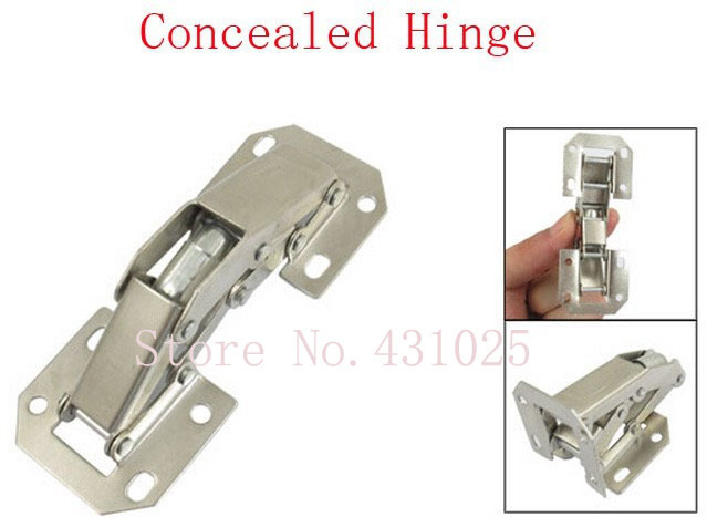 90 Degree Opening Surface Silver Tone Metal Concealed Hinge 8pcs(China (Mainland))