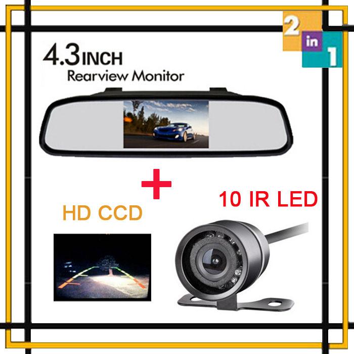 Parking Hight Quality 4.3 inch Car TFT LCD Monitor PAL&NTSC For CCD 10 IR LED lights Rear View Camera Backup Night vision Camera(China (Mainland))