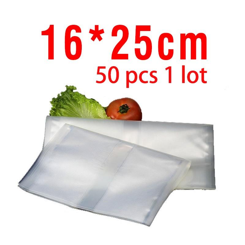 Free shipping 16cm*25cm 50pcs vacuum bags for food Storage FOR Vacuum Sealer Saver packaging bags vacuum bag