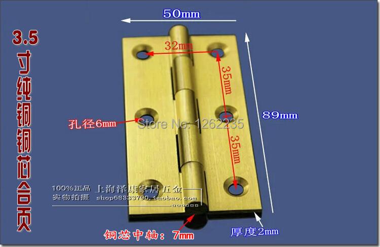 89*50mm Brass Hinge Copper hinge Kitchen cabinet door hinge door full of copper wire drawing furniture Hardware Accessories(China (Mainland))