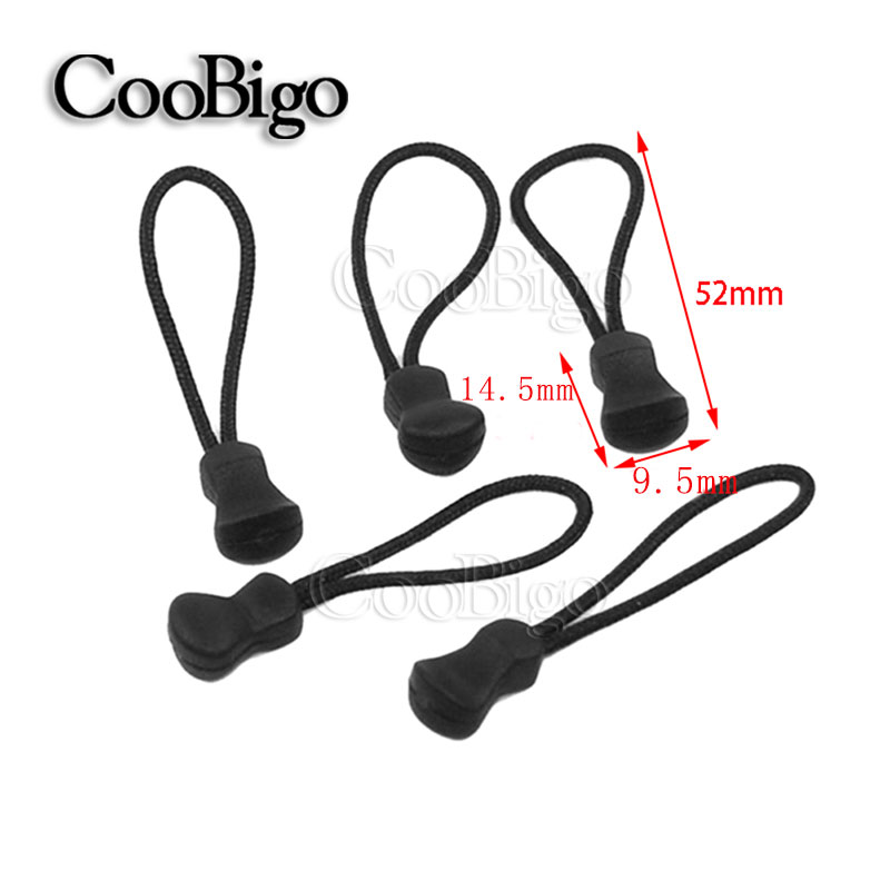 10pcs Pack Cord Zipper Pull Strap Lariat Black For apparel Accessories #FLC134-B(China (Mainland))