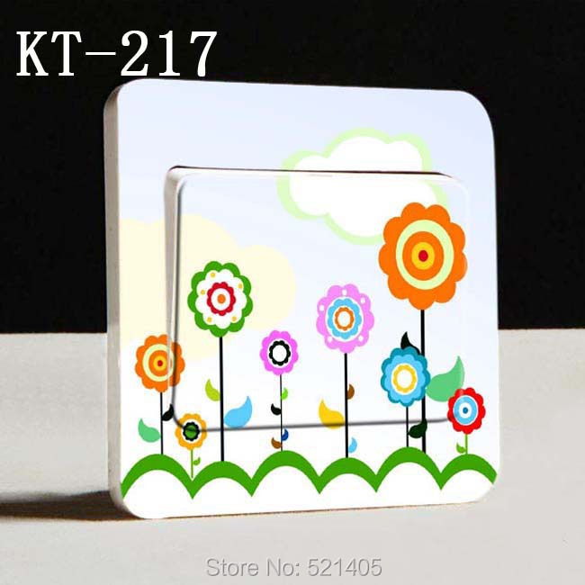 KT-217 Sun flower switch sticker Flowers Plants Creative Home Furnishing wall sticker Free Shipping(China (Mainland))