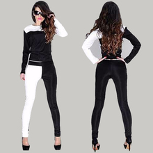 2015 New Harajuku Women Sport Suit Women O-Neck Full Sleeve Women Hoodies White Black Patchwork Tracksuits moleton feminino(China (Mainland))