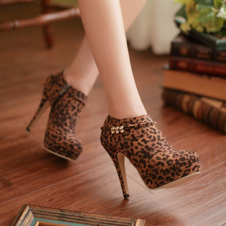 B14081305 2014 Women Pumps Spring New Europe Style women's shoes leopard print platforms pumps high heels pumps for ladies(China (Mainland))