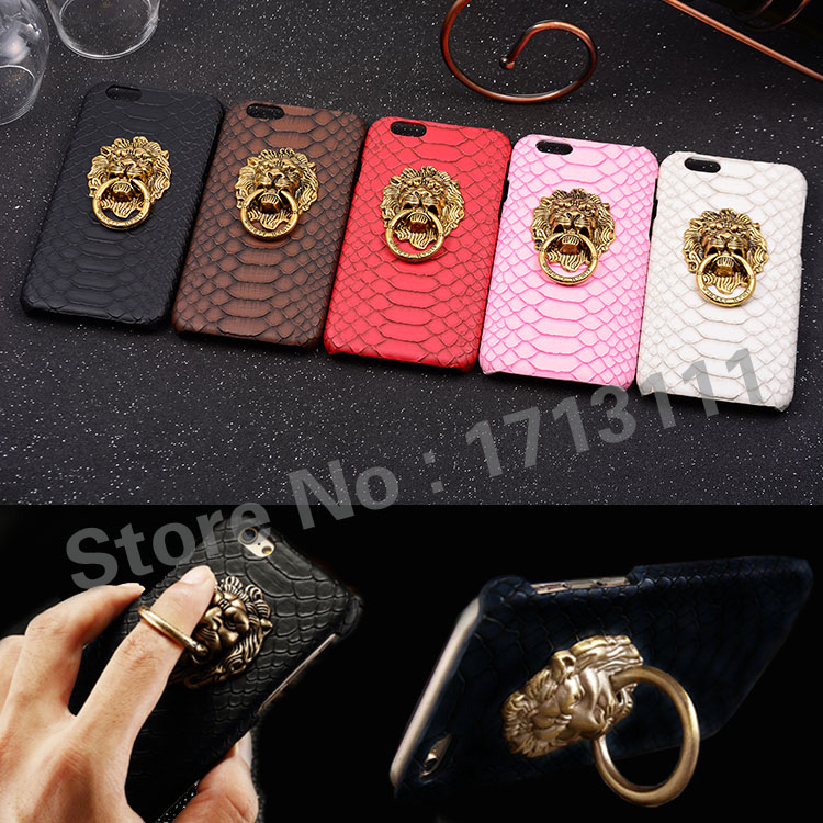 Luxury 3D lion head metal Ring holder Stand phone cases Snake Lizard Texture Leather Hard Cover