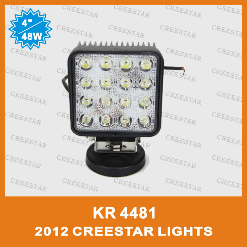 48W spot beam and flood beam optional in the wholesale price KR4481,12V led off road lights used for truck off-road healamp FREE(China (Mainland))