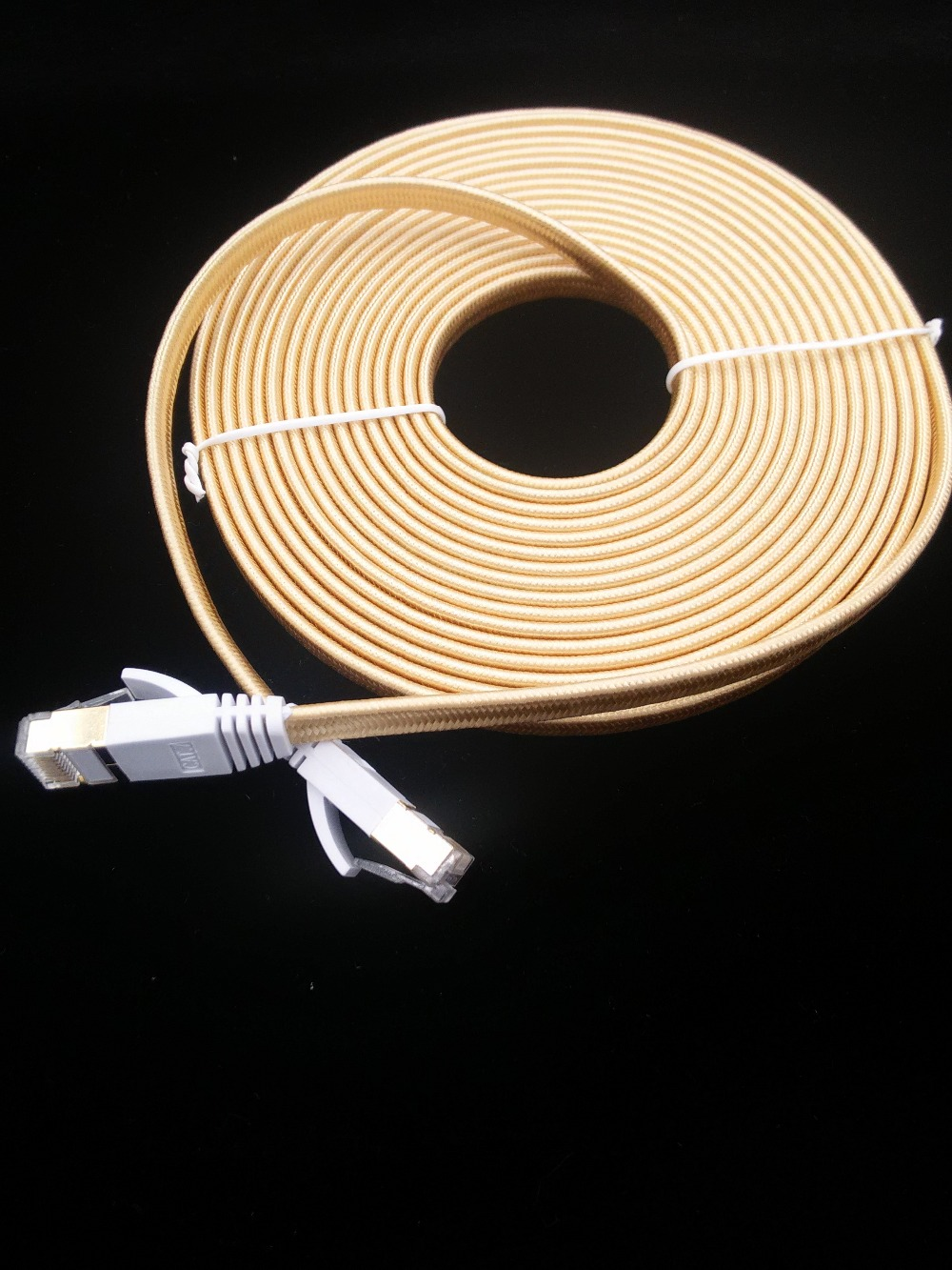 2016 new product GOLD COLOR 0.5m1m1.5m2m 3m,5m 10mCAT7 RJ45 Patch flat Ethernet LAN Network Cable For Router Switch gold plated(China (Mainland))