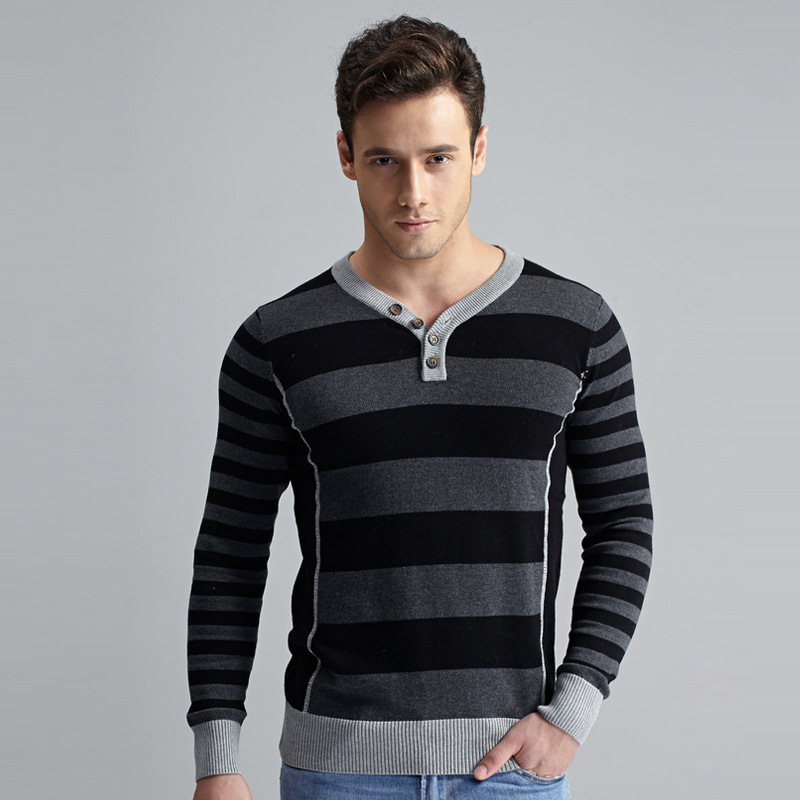 Mens Sweaters 2016 New Autumn and Winter Casual Sweater V-Neck Striped Slim Fit Cotton Men Pullover(China (Mainland))