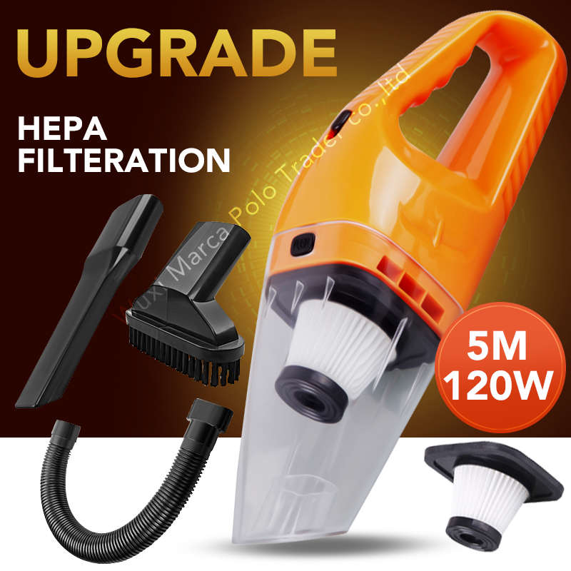 Upgrade Filter Hepa Car Vacuum Cleaner Wet & Dry Dual-use Super Suction 12V,120W 5meters Vacuum Cleaner Aspirador De Po Portatil(China (Mainland))
