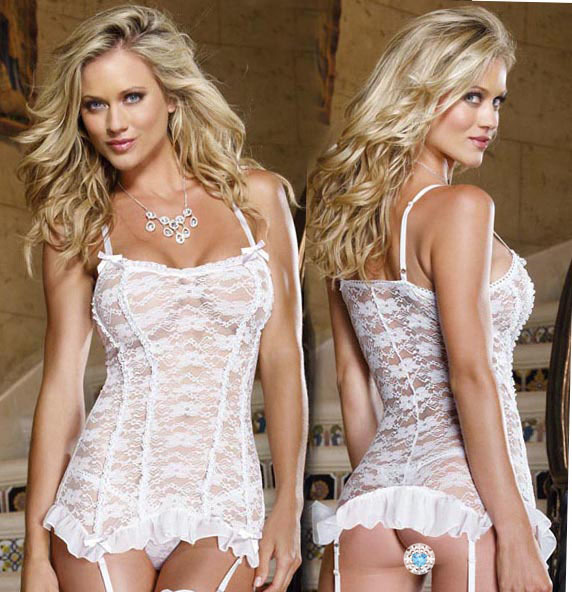 sexy lingerie pure white lace flower charm suspender hot corset dress ,g string ,garter set(China (Mainland))