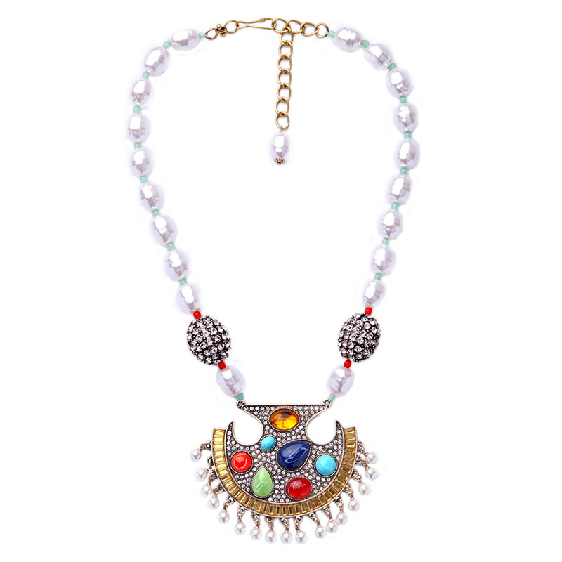 simulated pearl beaded chain necklace ethnic style